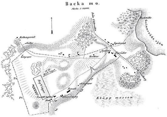 Kartskiss från 1878 över det gamla lägret på andra sidan landsvägen